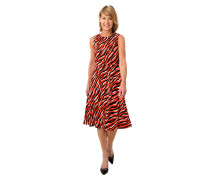 Kleid, Zebra-Muster, A-Linie, Rundhalsausschnitt