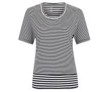 T-Shirt. Baumwolle, Streifen-Mix, Ausschnitt-Bordüre
