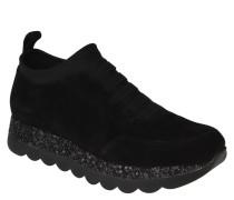 Slipper, Sneaker-Stil, Veloursleder, Glitzer, Wechselfußbett