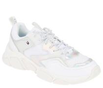 XL-Sneaker, Leder-Textil-Mix, Holo-Details, Logo-Stickerei