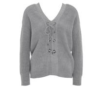 Pullover, gerippt, Schnürung