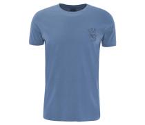 T-Shirt, Stickerei, uni, Flammgarn-Optik