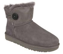 Boots, Lammfell, Veloursleder, Knopf-Detail