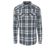 Freizeithemd, Washed-Out-Look, kariert, Jeans-Struktur