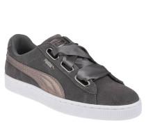 "Sneaker ""Suede Heart LunaLux"", Veloursleder, Schleife, Glitzer-Detail"