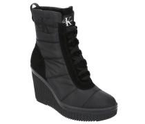 Ankle Boots, Keilabsatz, Logo-Stickerei, Veloursleder-Partien