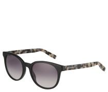 Sonnenbrille, runde Form, Leopardbügel