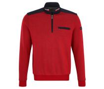 Sweatshirt, Brusttasche, Troyer-Kragen, Kontrast-Einsatz, meliert