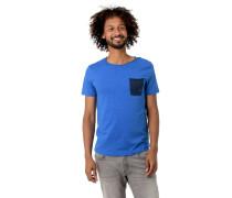 T-Shirt, Baumwolle, Kontrast-Brusttasche, Flammgarn-Optik