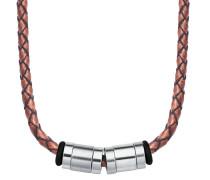 Herren-Lederhalskette braun mit Beads