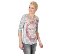 3/4 Arm Shirt, Floral, Glitzer-Abschlüsse, Strass-Details