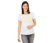 T-Shirt, Flammgarn, Schrift-Print, reine Baumwolle