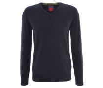 Pullover, V-Ausschnitt, uni, Baumwolle