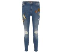 "Jeans ""Sophia"", Fransen, Patches, Pailletten, Destroyed-Effekte"