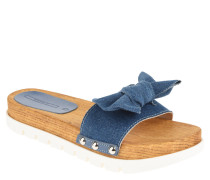 Slides, Jeans-Optik, Schleife, Nieten, Holzsohle