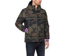 Jacke, Kapuze, Camouflage-Muster, Reißverschluss-Detail