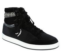 Sneaker, Samt, Schnürung, Animal-Detail, gepolsterter Schaftrand