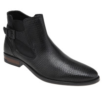Chelsea Boots, Leder, Zierschnalle, Web-Optik, Blockabsatz