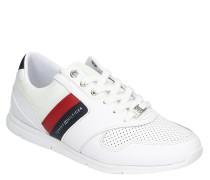 Sneaker, Leder, Mesh-Besatz, Lochmuster, Logo-Print