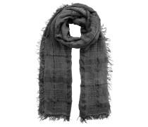 Schal, Fransen, Karo-Muster, Crinkle-Effekt
