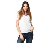 T-Shirt, V-Ausschnitt, Ripp-Bündchen, Streifen-Details
