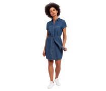 Jeanskleid, Knopfleiste, Gürtel zum binden, Brusttaschen, Kurzarm