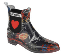 Chelsea Boots, Gummi-Optik, grafisches Design, Elastik-Einsatz