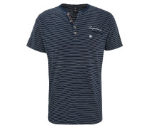 T-Shirt, Henley-Ausschnitt, Brusttasche, Stickerei