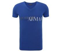 T-Shirt, Logo-Print, Baumwolle, V-Ausschnitt