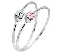Ring Set Swarovski® Kristalle 925 Sterling Silber