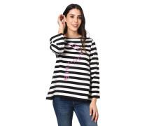 Sweatshirt, 7/8 Arm, Streifen, Print