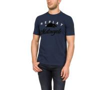 T-Shirt, Baumwolle, Logo-Print, Used-Look-Abschlüsse, meliert