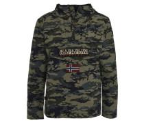 Jacke, Kapuze, halber Reißverschluss, Label-Patches, Camouflage