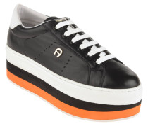 Sneaker, Leder, gestreifte Plateausohle, Logo-Emblem