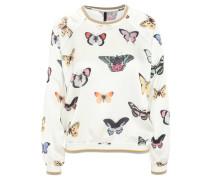 Blusenshirt, Schmetterling-Print, Seidenoptik, Rippbündchen