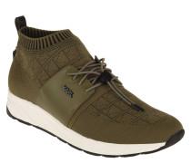 Sneaker, Leder-Details, Knit-Optik