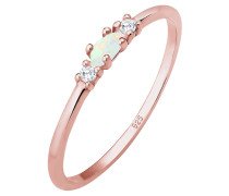 Ring Vintage Zirkonia Marquise Opal Pretty 925 Silber