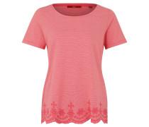 T-Shirt, florale Stickerei, Wellensaum, gestreift