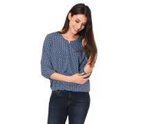 Shirt, 3/4-Arm, Split Neck, elastischer Bund, geometrisches Muster