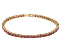 Tennisarmband gold mit 56 roten Rubinen
