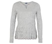 Pullover, Feinstrick, Crinkle-Look, Spitzen-Details, meliert