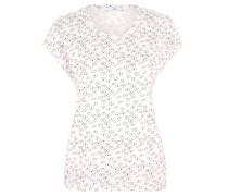 T-Shirt, überschnittene Schulter, Allover-Print, Gummizug