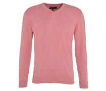 Pullover, V-Ausschnitt, Baumwolle, Logo-Stickerei, uni