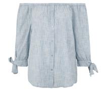 Blusenshirt, Baumwolle, Carmen-Ausschnitt, Zierknöpfe