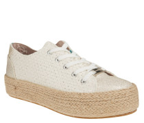 XL-Sneaker, Leder, Glitzer-Details, Bast-Plateausohle