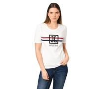 T-Shirt, Label-Print, Stretch-Anteil