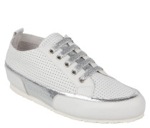 Sneaker, Leder, perforiert, Metallic-Effekt