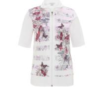 Shirtjacke, Halbarm, florales Design, Reißverschluss, Klappkragen