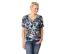 Shirt, V-Ausschnitt, gestreifte Rippblende