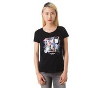 T-Shirt, Tropen-Print, Flammgarn, Ärmelumschlag, reine Baumwolle